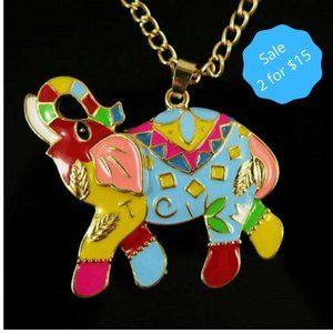 2/$15 Gold Necklace Elephant Pendant Multicolor